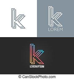 set, fondo, alfabeto, k, disegno, lettera, logotipo, icona
