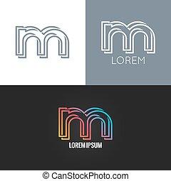 set, fondo, alfabeto, m, disegno, lettera, logotipo, icona