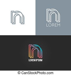 set, fondo, alfabeto, n, disegno, lettera, logotipo, icona
