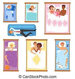 set, fondo, famiglia, persone, sonnolento, in pausa, sonno, isolato, bianco, donna, illustrazione, caratteri, bambino, cartone animato, uomo, dormienti, durante notte, letto, o, dormiglione, vettore, uomo affari, cuscino