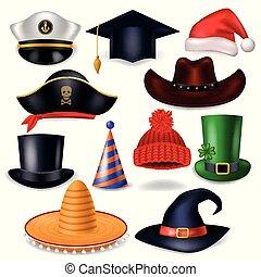 set, fondo, headwear, festeggiare, comico, divertente, isolato, acconciatura, festa, cappello bianco, pirata, illustrazione, chrisrmas, compleanno, strega, santa, copricapo, cartone animato, cowboy, berretto, vettore, o