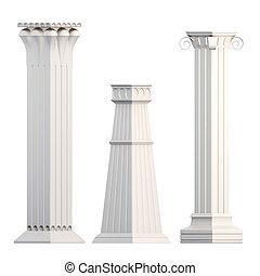 set, fondo., isolato, interpretazione, bianco, colonne, 3d