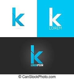 set, fondo, k, disegno, lettera, logotipo, icona