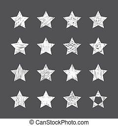 set, fondo, mano, nero, stelle, disegnato