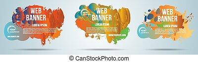 set, fondo, vettore, schizzo, colorito, web, pendenza, bandiera