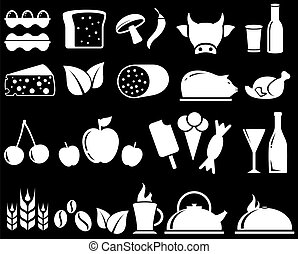 set food objects on black background