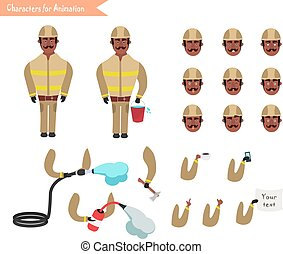 Set for animation of firefighter in uniform