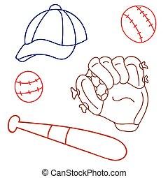 set for baseball, glove, cap, bat, game, sport