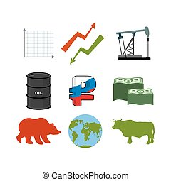 Set for business graphics. Set to infographics. Icon collection for stock traders. Green and red arrow. Oil rig. Barrel of oil. Russian ruble. American currency of dollars. Many of money. Earth. Bull and bear