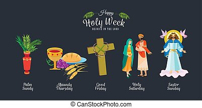 Set for Christianity holy week before easter, Lent and Palm...
