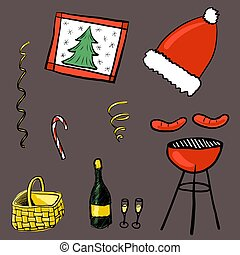 Set for Christmas barbecue elements, such as grill, basket, champagne, sausages, candy. Decoration for winter picnic outdoors. Food and drink to celebrate holiday with BBQ. Vector illustration
