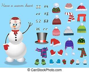 Set for creation cute cartoon snowman character.