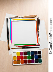Set for drawing and blank sheets of paper