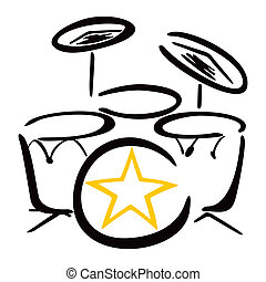 Set for drummer - Drum kit drawing on white background