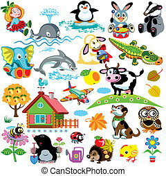 big set with pictures for babies and little kids Cartoon images isolated on white background