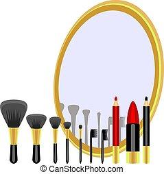 Set for makeup - set for makeup of brushes, pencils,...