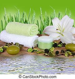Set for spa-procedures on bamboo rug