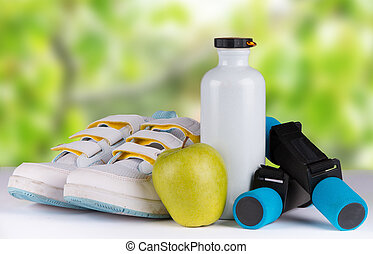 set for sports activities with nature green background