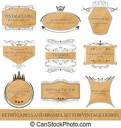 Set for vintage design, retro label