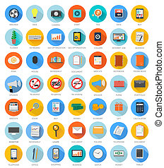 Big set for web and mobile applications of office work, social media, seo search optimization, internet job, analysis of documents, purse, time is money, support, money, marketing concepts items icons in flat design