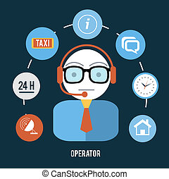 Set for web and mobile applications of office work. Operator with different item icons such as network, 24h, tax, info, message and clock. Support concept in flat design