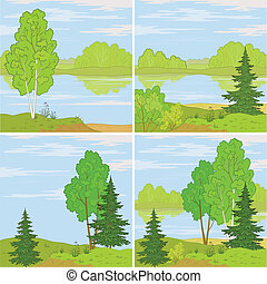 Set forest landscapes - Set summer landscapes: forest, river...