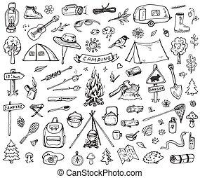 set, foresta, campeggio, icone