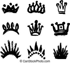 set, forma, colpi, corona, isolato, struttura, vernice, fondo, bianco, spesso