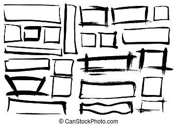 set, forma, fondo., colpi, rectangles., isolato, forme, vernice, vettore, fondo, inchiostro, cornici, bianco, squadre, tuo, design.