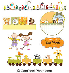 set, formaat, items, vector, baby's, speelgoed