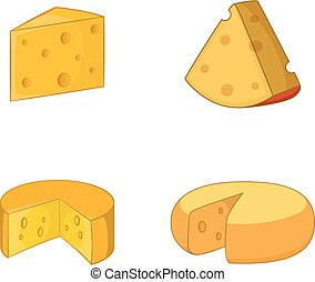set, formaggio, stile, cartone animato, icona