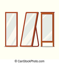 set., formas, espejos, marcos, piso de madera, rectangular