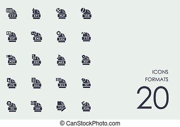 Set, formaten, iconen