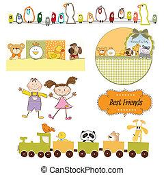 set, formato, articoli, vettore, bambini, giocattoli