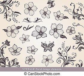 set formge, blomma, elementara