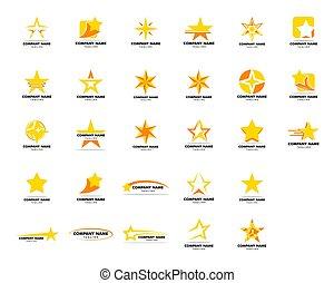 set formge, vektor, logo, mall, ikon, stjärna, illustration