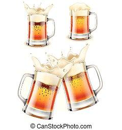 set, foto, bier, realistisch, mok, vector, 3d