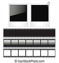 set, foto, polaroid, isolato, fondo., striscie, cornici, bianco, film