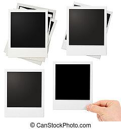 set, foto, polaroid, isolato, vario, cornici