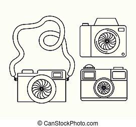 set, fotografico, cameras, icone