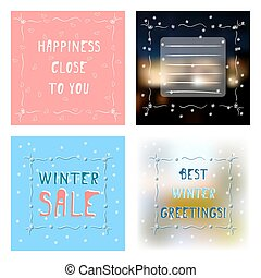 Set four greetings card with various backgrounds