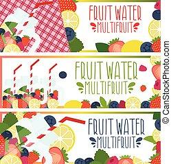 set, fragole, vaso, lamponi, muratore, acqua, lamponi, luminoso, frutta, illustrazione, mirtilli, bandiere, limoni, .vector