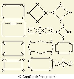 set, frame, vector, ouderwetse