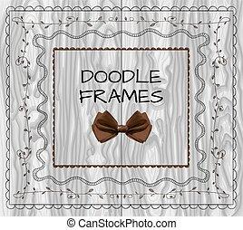 set, frames:, doodle, wood., boog, vector, licht