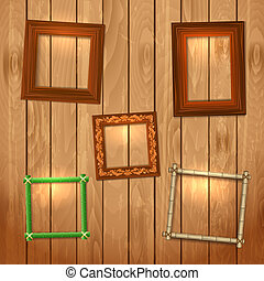 Set frames on wooden texture for your design
