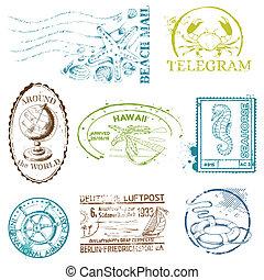 set, -, francobolli, vettore, disegno, retro, mare, album
