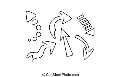 set, frecce, illustrazione, mano, vettore, fondo, disegnato, bianco
