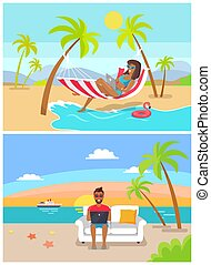 set, freelance, kust, vector, illustratie
