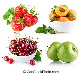 set fresh fruit with green leaf