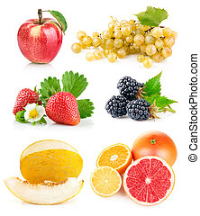 set fresh fruits with green leaves isolated on white...